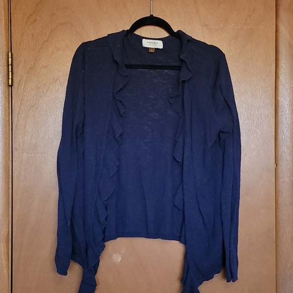 Cardigan with ruffle front